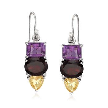 13.80 Multi-Stone Drop Earrings With Sterling Silver, , default
