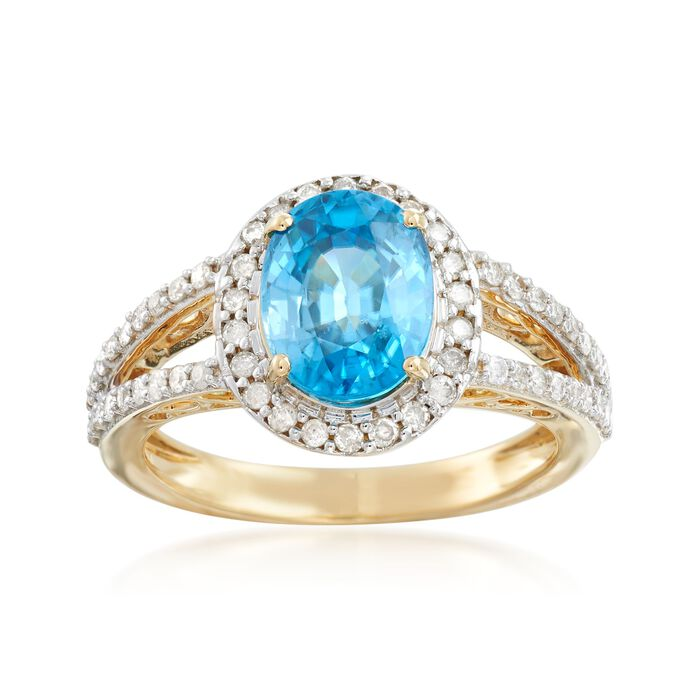 3.60 Carat Blue Zircon and .46 ct. t.w. Diamond Ring in 14kt Yellow Gold, , default