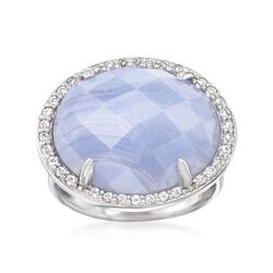 Blue Agate and .50 ct. t.w. White Topaz Ring in Sterling Silver, , default