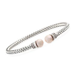 "Charles Garnier ""Perla"" 7mm Cultured Pearl and .10 ct. t.w. CZ Cuff Bracelet in Sterling Silver, , default"