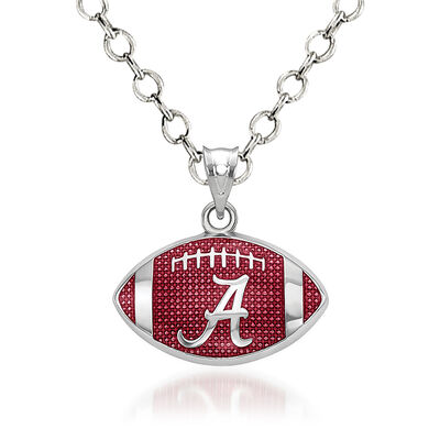 Sterling Silver the University of Alabama Enameled Football Pendant Necklace. 18""