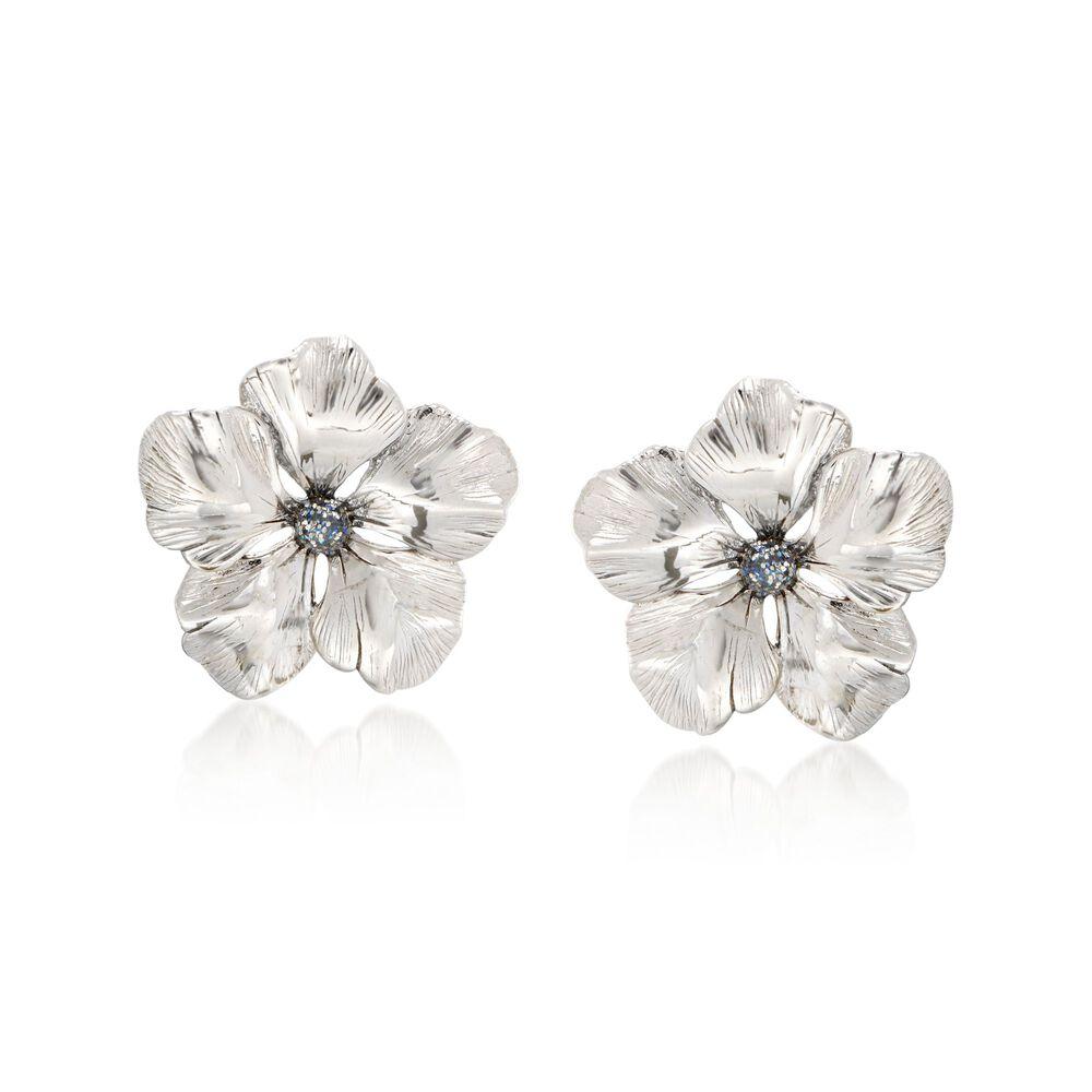 Italian Sterling Silver Flower Earrings With Glitter Enamel Default