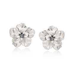 Italian Sterling Silver Flower Earrings With Glitter Enamel, , default