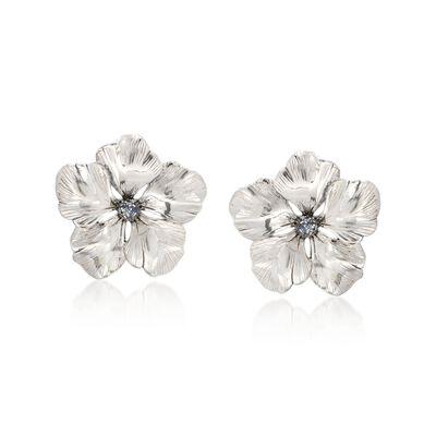 Italian Sterling Silver Flower Earrings with Glitter Enamel, , default