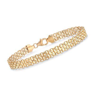Italian 18kt Yellow Gold Bismark-Link Bracelet, , default