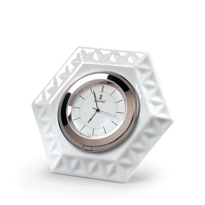 Lladro Porcelain Frame Hexagonal Clock, , default