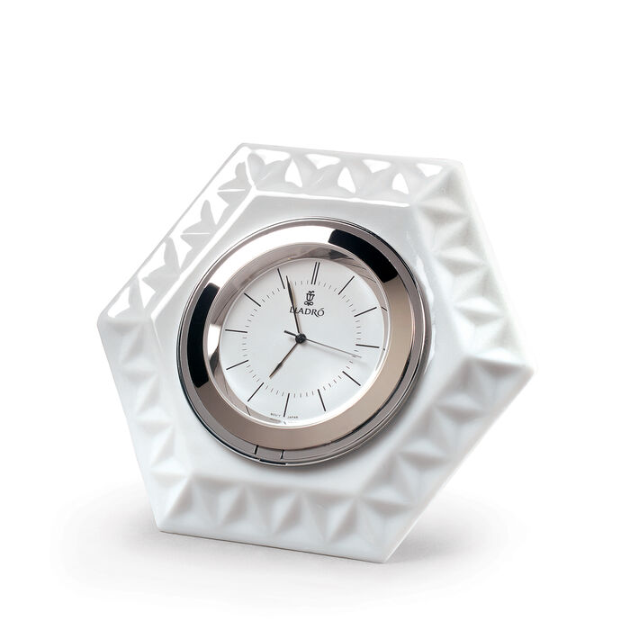 Lladro Porcelain Frame Hexagonal Clock