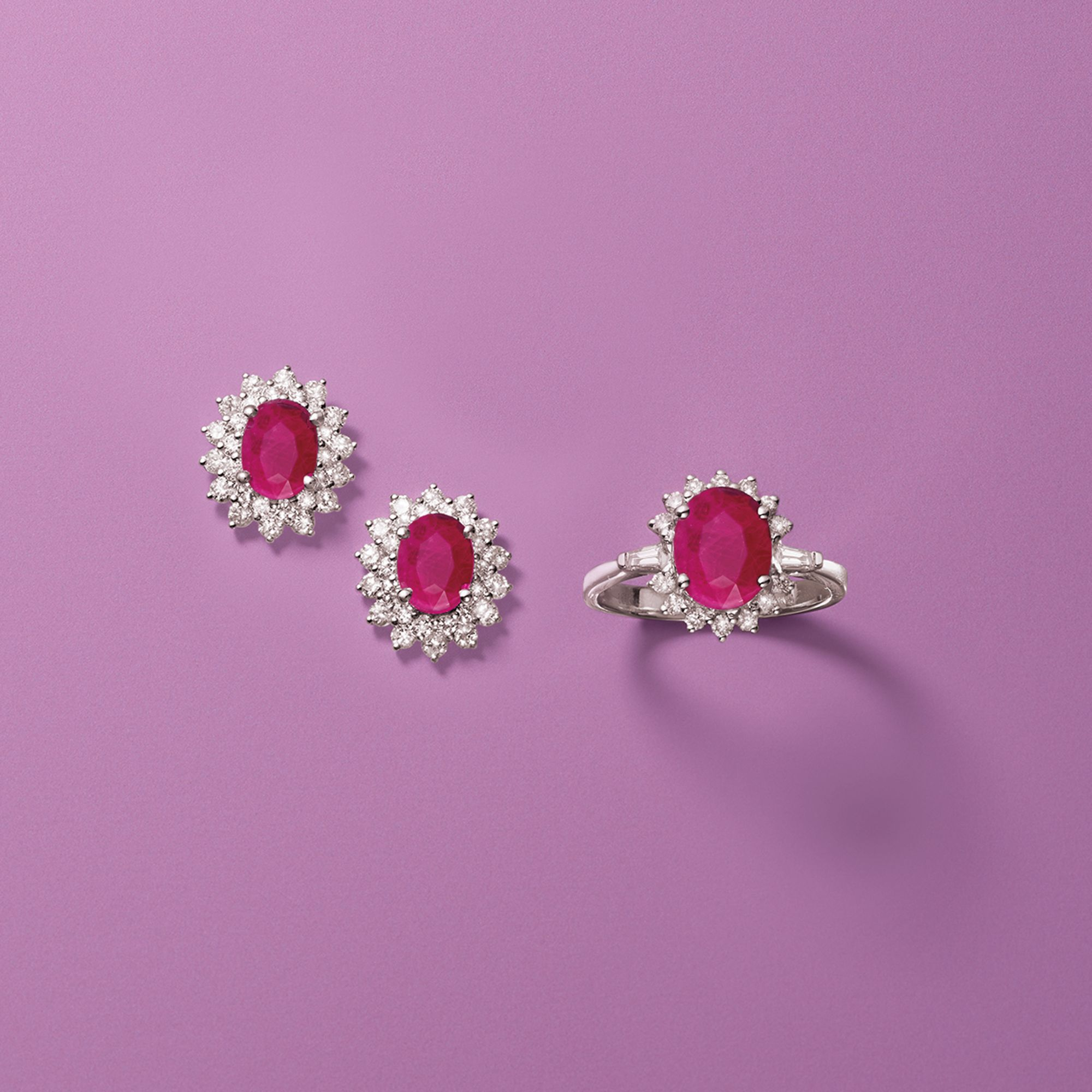 2.10 Carat Burmese Ruby and .32 ct. t.w. Diamond Ring in 18kt White ...