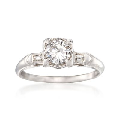 C. 1970 Vintage .58 ct. t.w. Diamond Engagement Ring in 14kt White Gold, , default