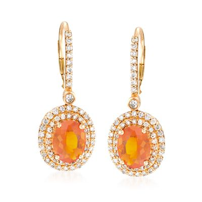 Fire Opal and 1.05 ct. t.w. Diamond Drop Earrings in 18kt Yellow Gold, , default