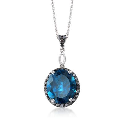 10.00 Carat London Blue Topaz and .50 ct. t.w. Black Diamond Pendant Necklace in Sterling Silver, , default