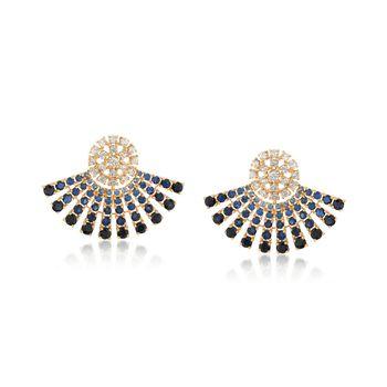 4.00 ct. t.w. Tonal Sapphire and .97 ct. t.w. Diamond Ombre Fan Earrings in 18kt Yellow Gold, , default