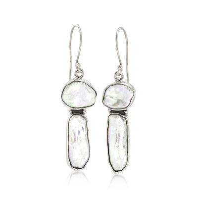 Cultured Biwa Pearl Drop Earrings in Sterling Silver, , default