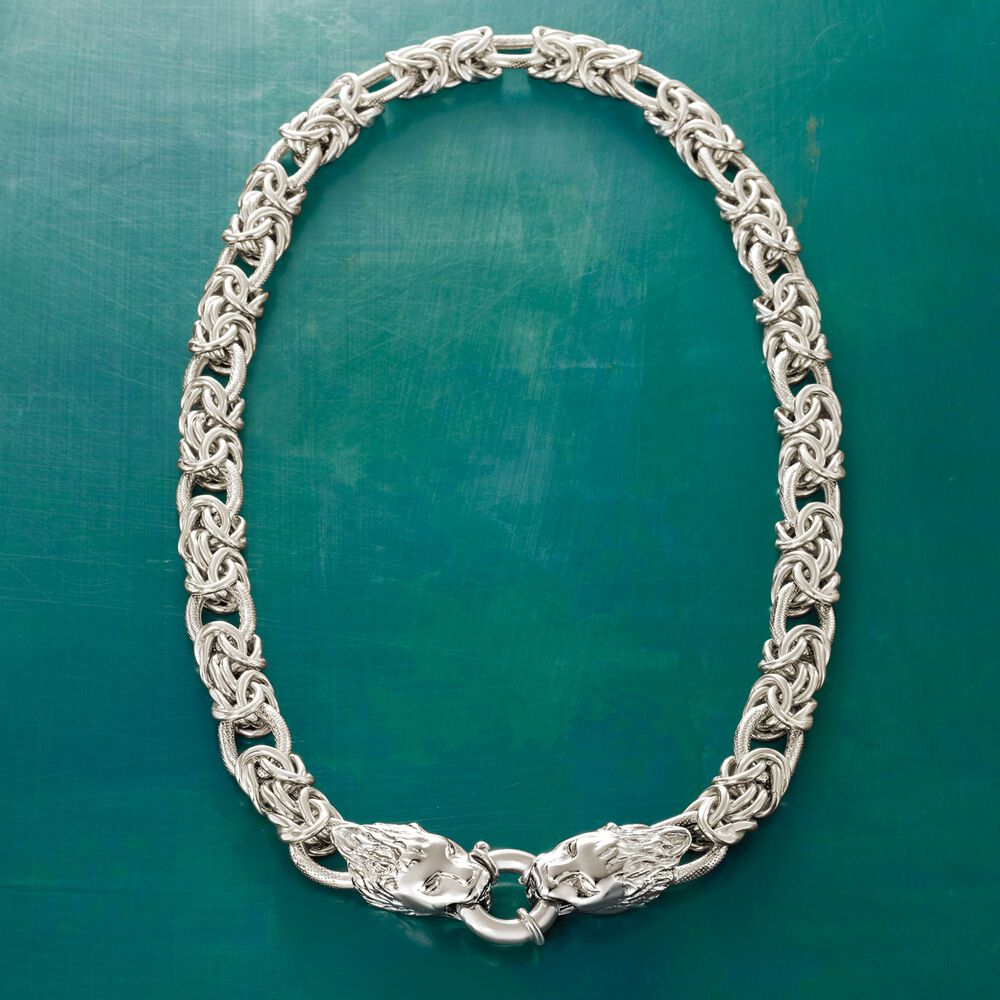 Italian Sterling Silver Byzantine And Oval Link Necklace