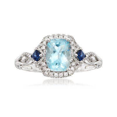 1.10 Carat Aquamarine and .22 ct. t.w. Multi-Stone Ring in 14kt White Gold, , default