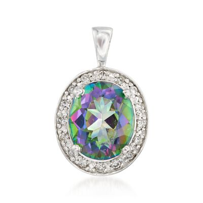 5.50 Carat Oval Mystic Topaz and .33 ct. t.w. Diamond Pendant in 14kt White Gold, , default