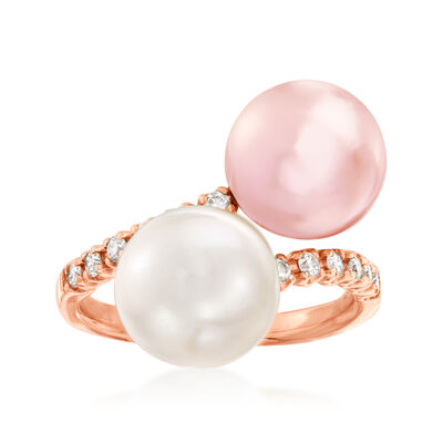 9-10mm Cultured South Sea Pearl and Pink Cultured Pearl Bypass Ring with .25 ct. t.w. Diamonds in 18kt Rose Gold