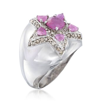 1.60 ct. t.w. Pink Sapphire and .37 ct. t.w. Champagne Diamond Star Ring in Sterling Silver, , default