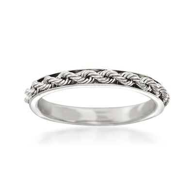 Italian 14kt White Gold Rope Design Ring, , default