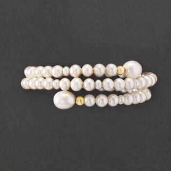 4-9mm Cultured Pearl Adjustable Wrap Bracelet with 14kt Yellow Gold Beads, , default