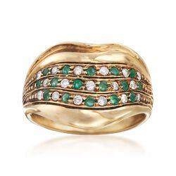 C. 1990 Vintage .80 ct. t.w. Diamond and Emerald Wide Ring in 14kt Yellow Gold. Size 7.5, , default