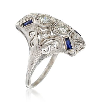 C. 1920 Vintage .50 ct. t.w. Diamond and .20 ct. t.w. Synthetic Sapphire Dinner Ring in Platinum. Size 5.5, , default