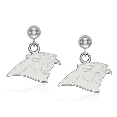 14kt White Gold NFL Carolina Panthers Dangle Ball Stud Earrings, , default
