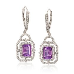 2.40 ct. t.w. Amethyst and 1.40 ct. t.w. White Topaz Drop Earrings in Sterling Silver, , default