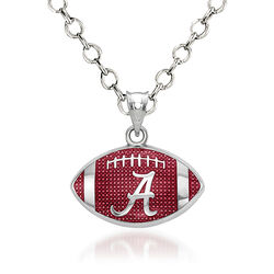 "Sterling Silver the University of Alabama Enameled Football Pendant Necklace. 18"", , default"