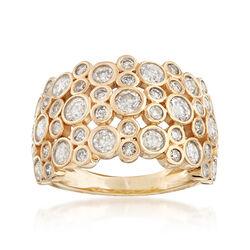 2.00 ct. t.w. Bezel-Set Diamond Multi-Row Ring in 14kt Yellow Gold, , default