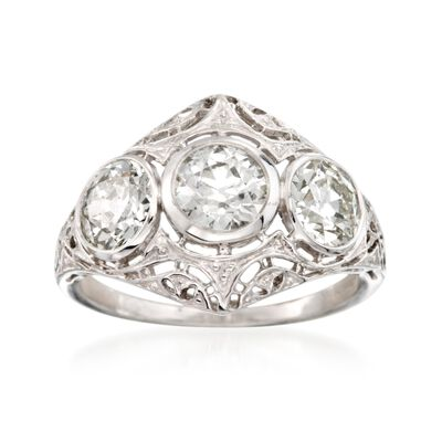 C. 1950 2.20 ct. t.w. 3-Stone Diamond Ring in Platinum