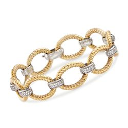"C. 1990 Vintage 1.75 ct. t.w. Diamond Oval-Link Bracelet in 14kt Two-Tone Gold. 7.5"", , default"
