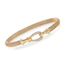 "Phillip Gavriel ""Popcorn"" .13 ct. t.w. Diamond Horseshoe Hook Bracelet in 14kt Gold, , default"
