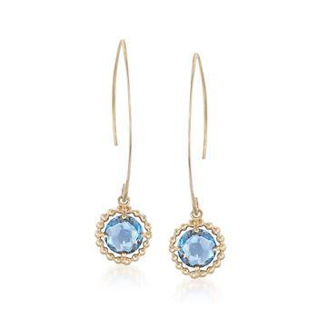 1.80 ct. t.w. Blue Topaz Drop Earrings in 14kt Yellow Gold, , default