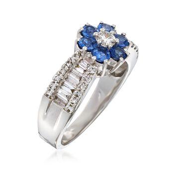 C. 2000 Vintage .95 ct. t.w. Diamond and .90 ct. t.w. Sapphire Flower Ring in 18kt White Gold. Size 6.5, , default