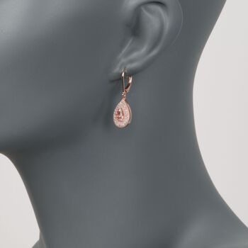 1.00 ct. t.w. Morganite and .75 ct. t.w. CZ Drop Earrings in 14kt Rose Gold Over Sterling, , default