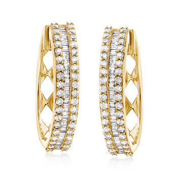 "3.00 ct. t.w. Baguette and Round Diamond Hoop Earrings in 18kt Gold Over Sterling. 1 1/8"", , default"