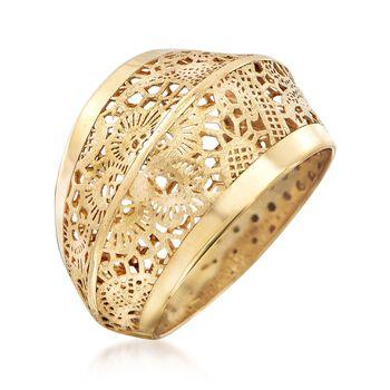 Italian 18kt Yellow Gold Floral Openwork Ring, , default