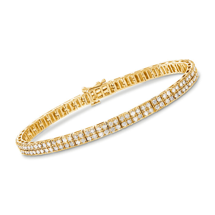 3.00 ct. t.w. Diamond Double-Row Tennis Bracelet in 18kt Gold Over Sterling