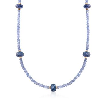 70.00 ct. t.w. Tanzanite Bead Necklace With 14kt Yellow Gold, , default