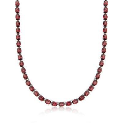55.00 ct. t.w. Garnet Tennis Necklace With Sterling Silver, , default