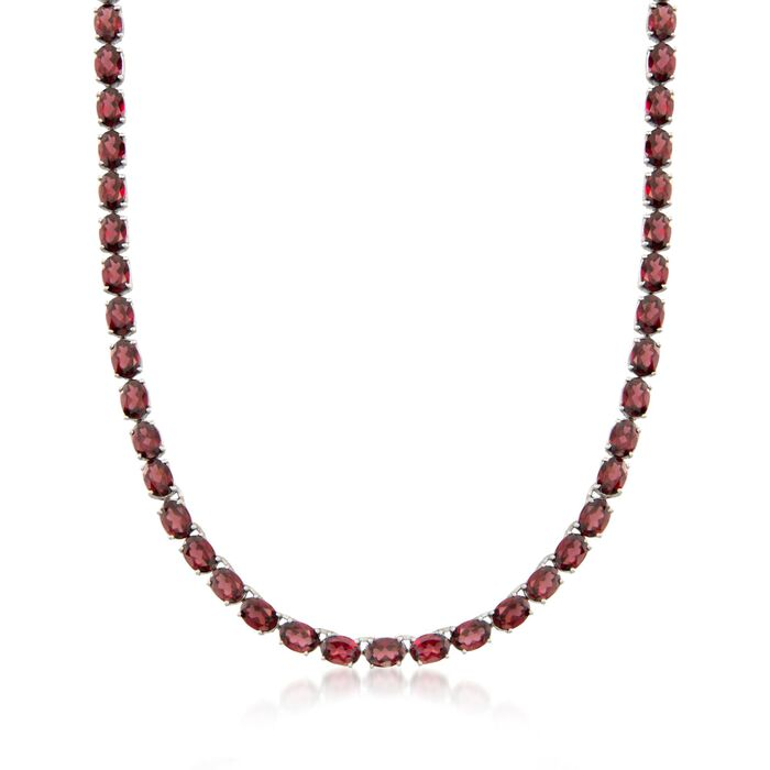 "55.00 ct. t.w. Garnet Tennis Necklace with Sterling Silver. 18"", , default"
