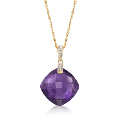 13.00 Carat Amethyst Pendant Necklace With Diamond Accents in 14kt Yellow Gold, , default
