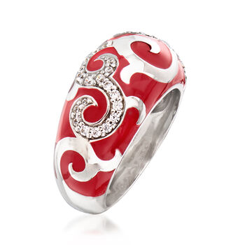 """Belle Etoile """"Royale"""" Red Enamel and .20 ct. t.w. CZ Ring in Sterling Silver. Size 7, , default"""