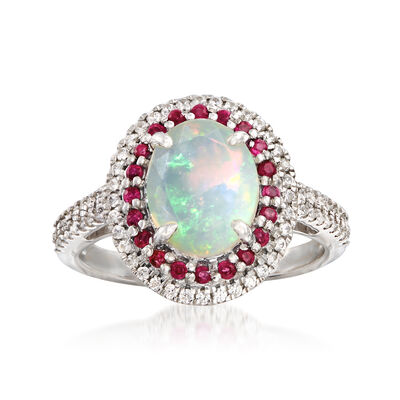Ethiopian Opal and .50 ct. t.w. Multi-Gem Ring in Sterling Silver, , default