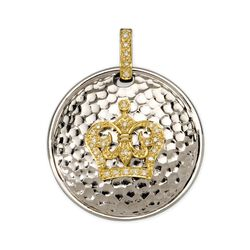 .10 ct. t.w. Diamond Crown Hammered Pendant in Two-Tone Sterling Silver, , default