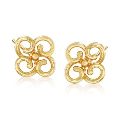 14kt Yellow Gold Flower Stud Earrings , , default