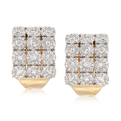 2.00 ct. t.w. Diamond Three-Row Hoop Earrings in 14kt Yellow Gold , , default