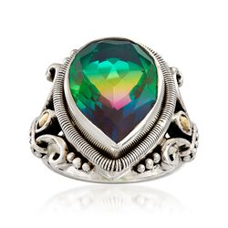 7.50 Carat Multicolored Quartz Ring With 18kt Yellow Gold in Sterling Silver, , default
