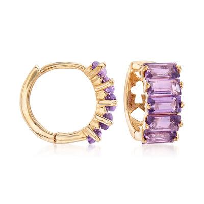 2.50 ct. t.w. Amethyst Hoop Earrings in 14kt Yellow Gold, , default